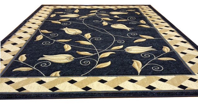 J711 Contemporary Modern Floral Hand Carved Beige Brown 2