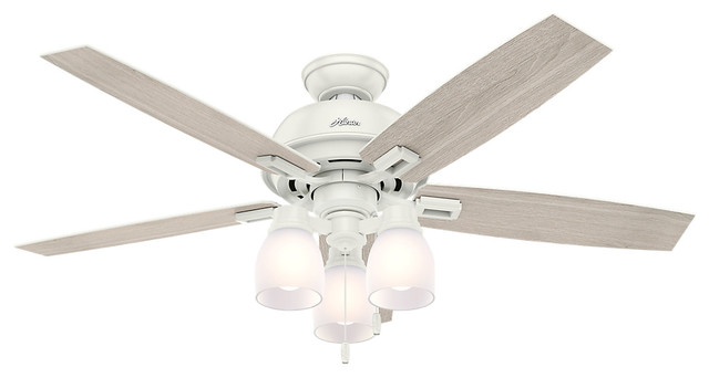 "Hunter 52"" Donegan With 3 Lights Fresh White Ceiling Fan With Light."