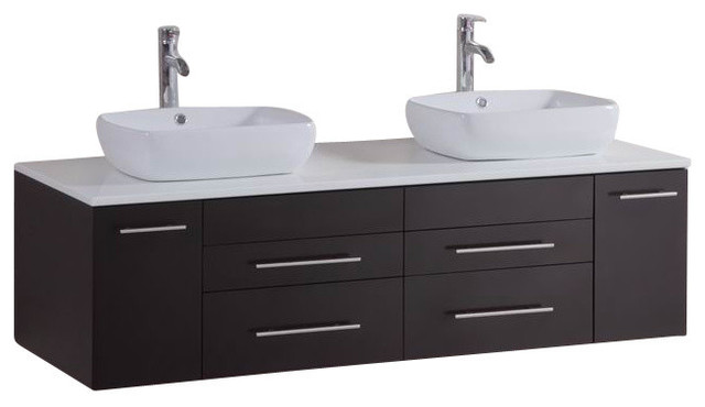 60 Belvedere Modern Double Vessel Bathroom Vanity W Stone Tops Contemporary