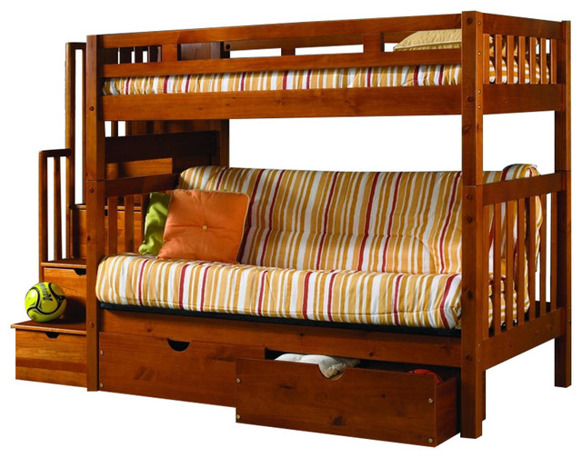 Bunk Bed With Futon, Stairs & Storage.