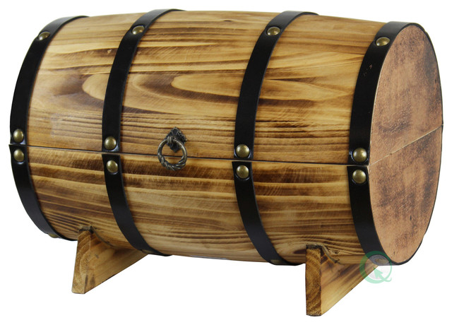 Wooden Barrel Treasure Chest Decorative Boxes By