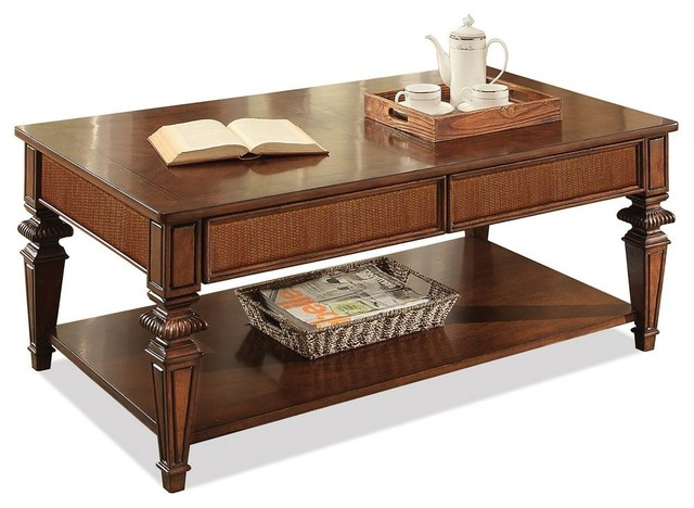 Tropical Rectangular Cocktail Table With Drawers