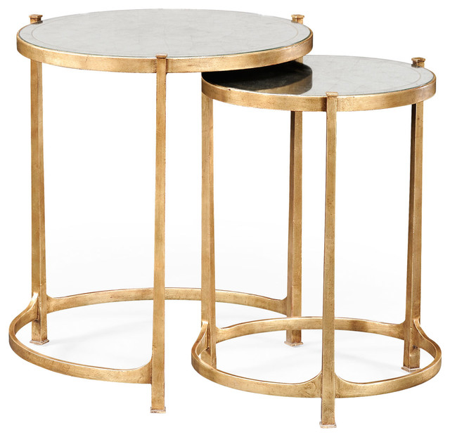 Eglomise And Gilded Iron Round Nesting Tables, Set Of 2