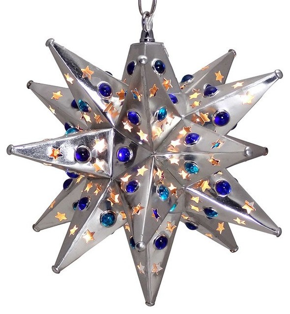 Moravian Star Light in Silver, Star Pierced with Marbles, 12