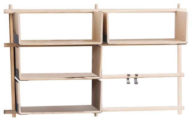 Foldin Horizontal Wall-Mounted Shelving Unit, Horizontal, 4 Shelves
