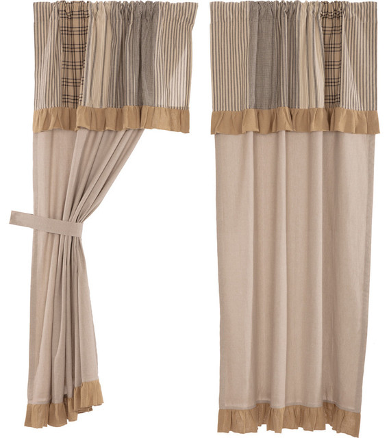 Farmhouse Country Curtains Sawyer Mill Patchwork Short Panel With Valance Pair
