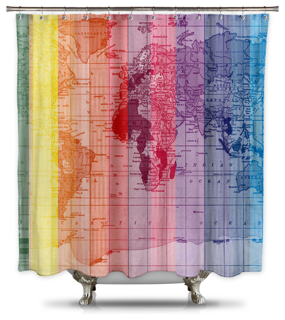 Rainbow World Map by Catherine Holcombe Fabric Shower Curtain, Standard Size