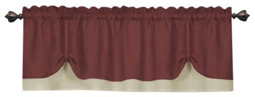 """Darcy Window Curtain Valance, 58""""x14"""", Marsala/tan."""