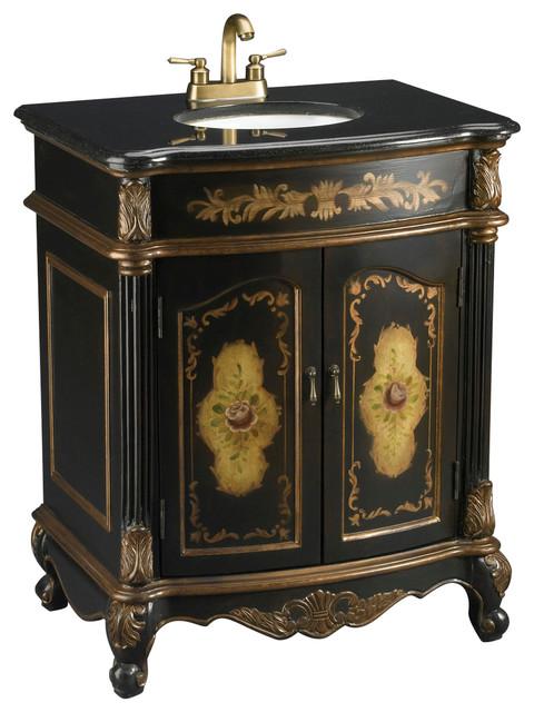 Hand Painted Black Vanity Sink With Floral Design And Black Granite.