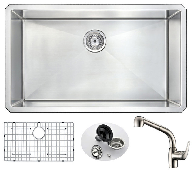 """ANZZI Vanguard 32"""" Single Bowl Kitchen Sink with Brushed Nickel Harbour Faucet"""