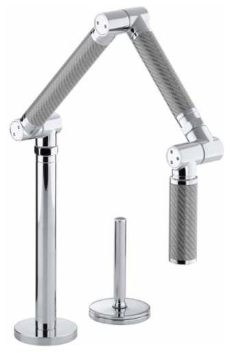 Kohler Karbon Articulating Deck-Mount Kitchen Faucet, Polished Chrome.