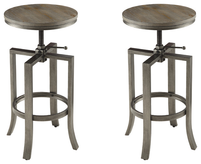 wire brushed adjustable bar stools set of 2 nutmeg