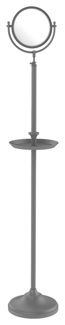 """Floor Standing Mirror 8"""" Diameter, 5x Magnification And Shaving Tray, Matte Gray."""