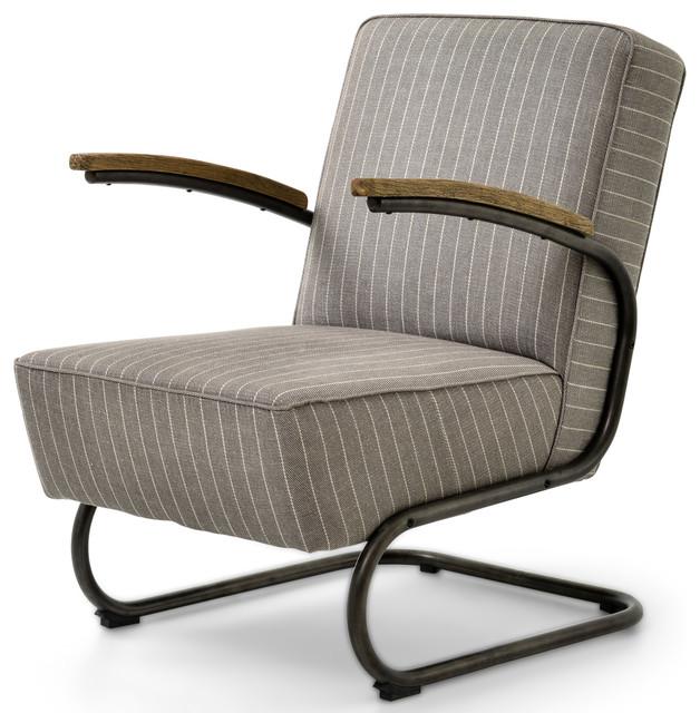 Peterman Industrial Loft Black Iron Gray Stripe Twill Armchair