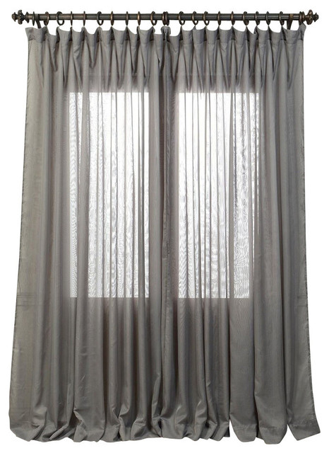 "Signature Double Wide Gray Sheer Curtain, 100""x108""."