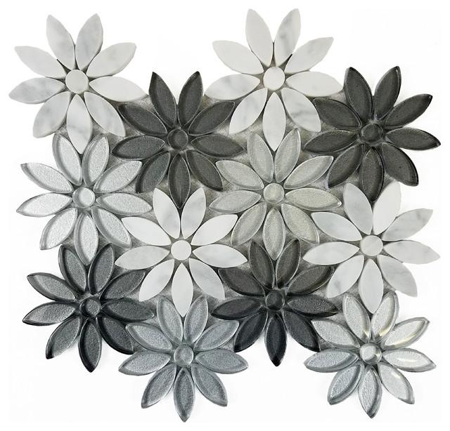 White Silver Gray Gl Flower Tile Marble Backsplash Sample