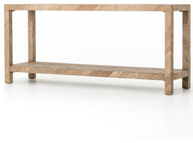 Lamar Parquet Drifted Oak Wood Console