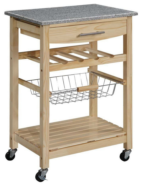 Granite Top Kitchen Island Cart, Natural Wood Finish.