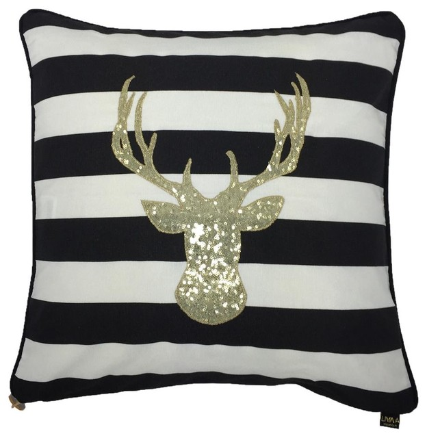 Glam Deer Sequin Stripe Cushion Cover, Black and White