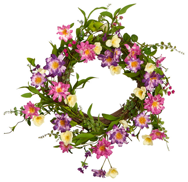 "22"" Wildflower Twig Wreath."