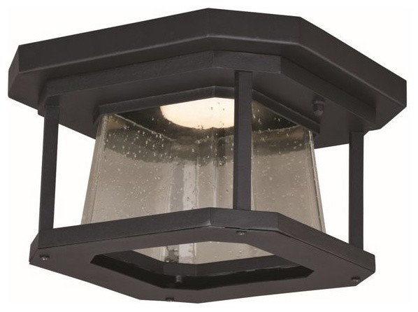 Freeport 12 Led Outdoor Flush Mount, Textured Black.