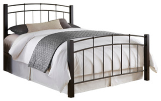 Scottsdale Complete Bed With Metal Duo Panels and Dark Espresso Wooden Posts - Traditional ...