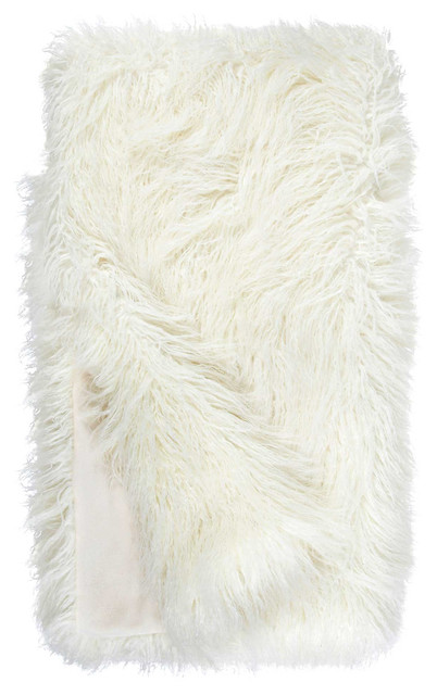 "Ivory Tibetan Lamb Signature Series Faux Fur Throw Blanket, 60""x60"""
