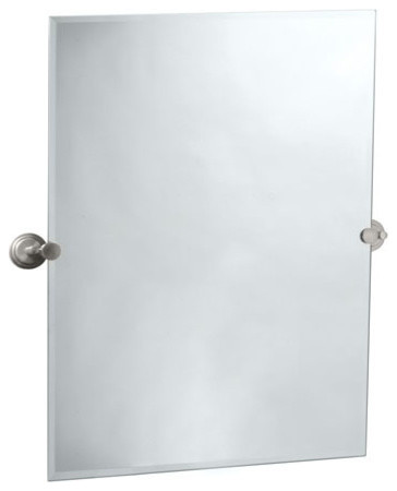 satin nickel bathroom mirror gatco marina collection rectangle tilting wall mirror 20309