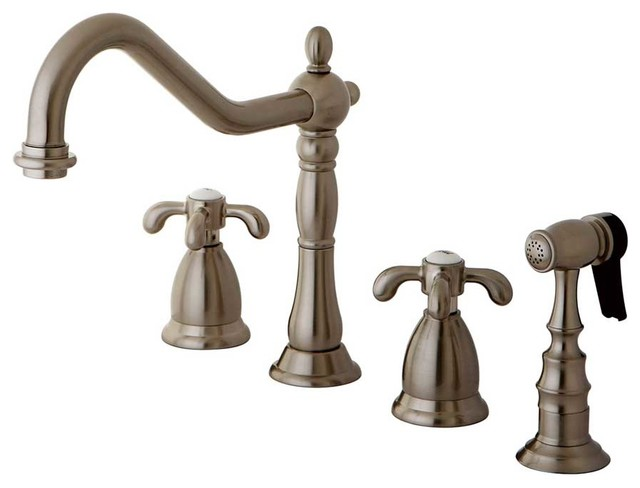 traditional french country satin nickel kitchen faucet faucets