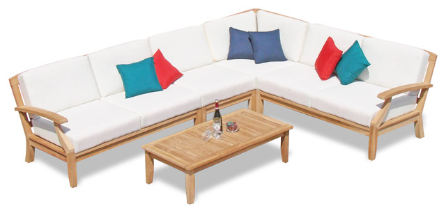 Astonishing 5 Piece Sam Outdoor Teak Sectional Sofa Set Sunbrella Cushions Freq Parchment Download Free Architecture Designs Sospemadebymaigaardcom