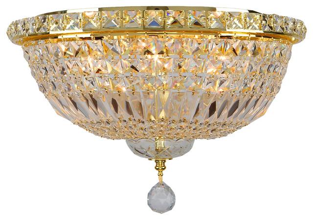 "Empire 6-Light Gold Finish Crystal Flush Mount Ceiling Light 16"" Round Medium."