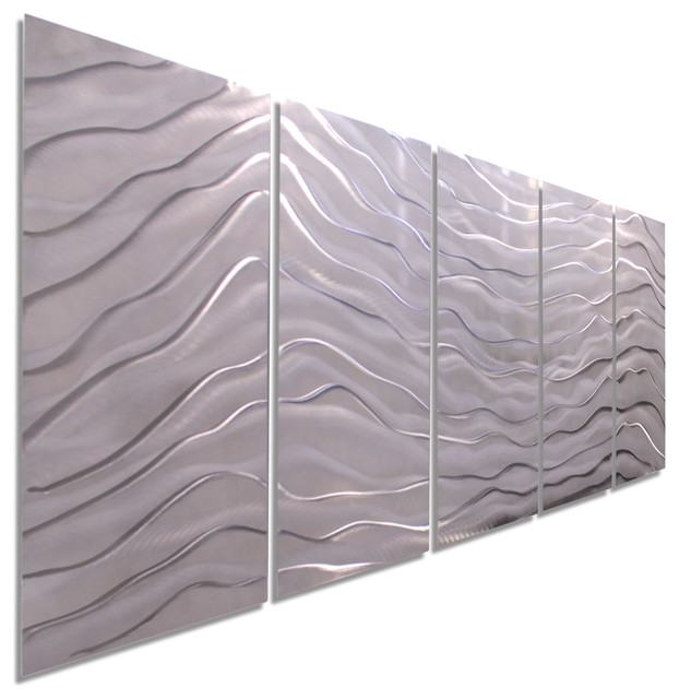 "Arctic Wave Metal Wall Art Painting By Jon Allen, 64""x24""."