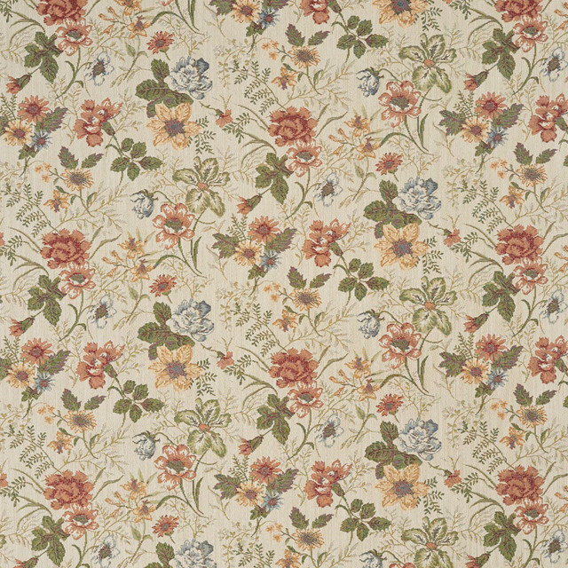Red Green And Yellow Floral Tapestry Upholstery Fabric By The Yard