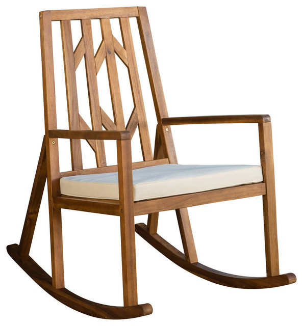 Marvelous Gdf Studio Monterey Outdoor Wood Rocking Chair White Cushion Single Chair Home Interior And Landscaping Palasignezvosmurscom
