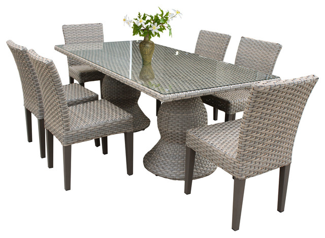 TKClassics Harmony Rectangular Outdoor Patio Dining Table With 6 Chairs Out