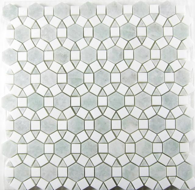 Sunflower Ming Green Thos Marble Mosaic Tile