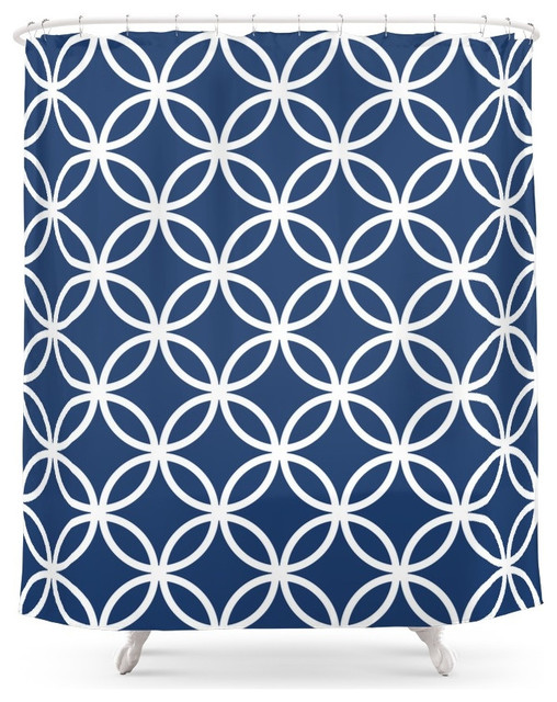 Cercle Lattice Shower Curtain White And Navy Contemporary Shower Curtain