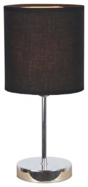 All The Rages Chrome Mini Basic Table Lamp With Black Shade.