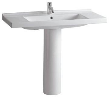 Whitehaus LU040 LU005 0H White Porcelain Rectangular Pedestal Sink Without  Fauce