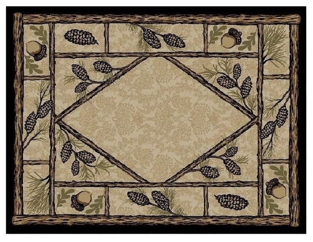 pinecone area rug brasstown bald american destination - Rustic Area Rugs