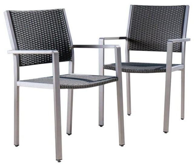 Coral Bay Outdoor Wicker Dining Chairs With Aluminum Frame, Set Of 2.
