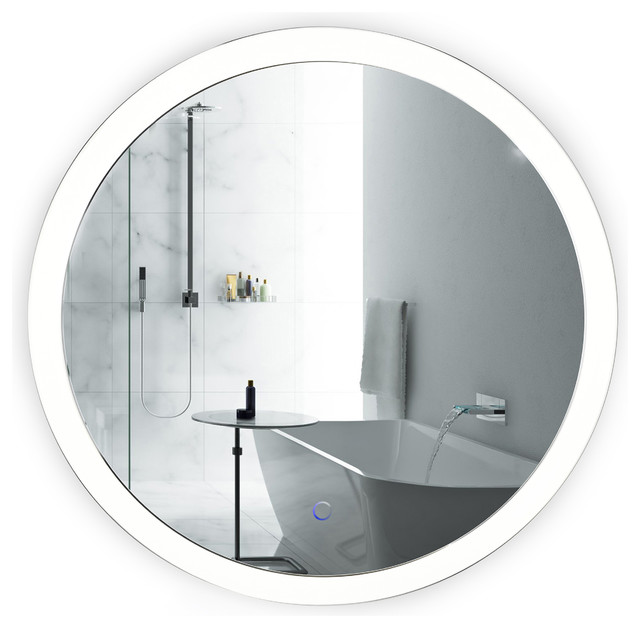 Round 27 LED Lighted Bathroom Mirror With Defogger Wall Mounted Sol By Krugg