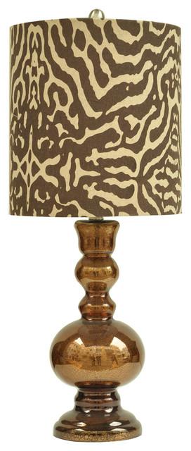 tanzinc golden brown mercury glass table lamp animal print shade