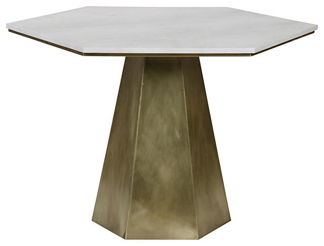 Harding Modern White Quartz Antique Brass Hexagon Pedestal Table Modern  Side Tables And
