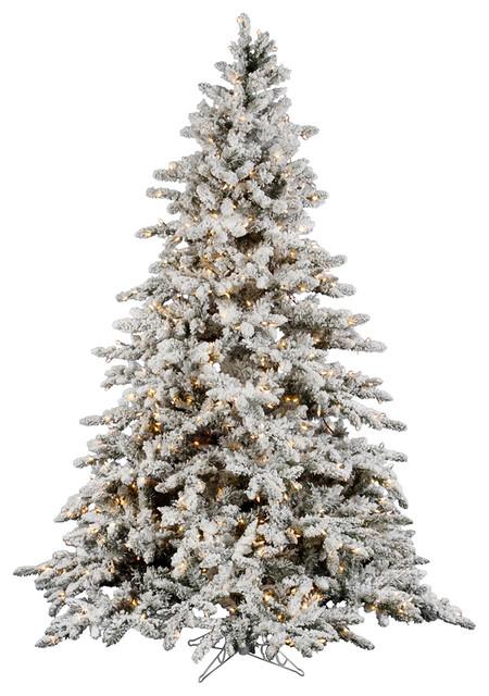 Flocked Utica Fir Tree, 9', Clear Lights