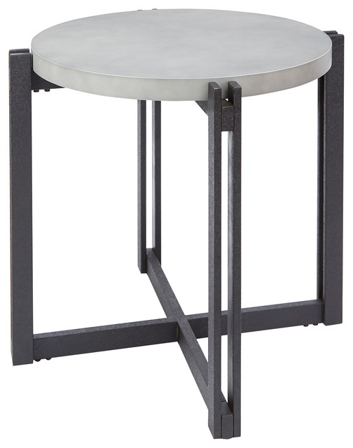 Dakota End Table With Round Concrete Finish Top.