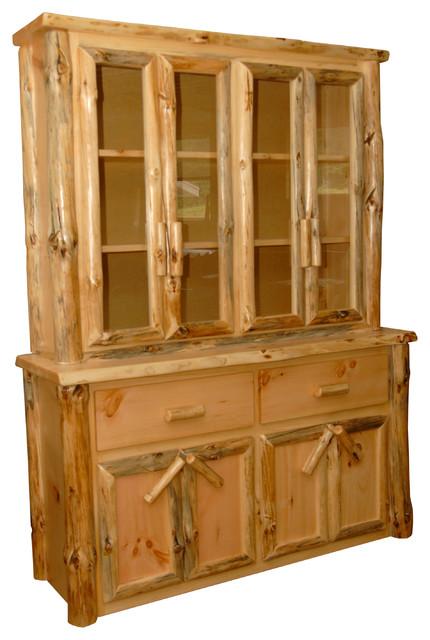 Furniture Barn USA - Rustic Pine Log China Cabinet and ...
