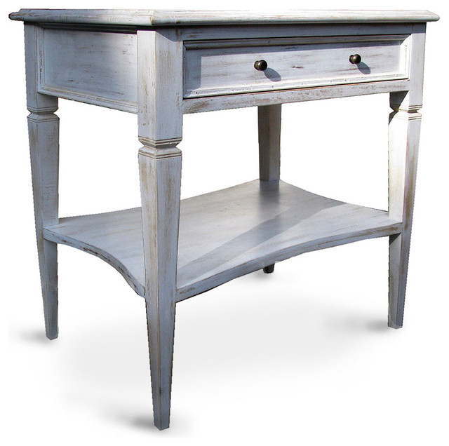 - Oxford 1 Drawer Side Table, White Wash