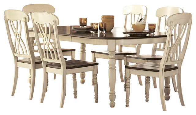 Homelegance Ohana Rectangular Leg Dining Table In White And Cherry  Traditional Dining Tables