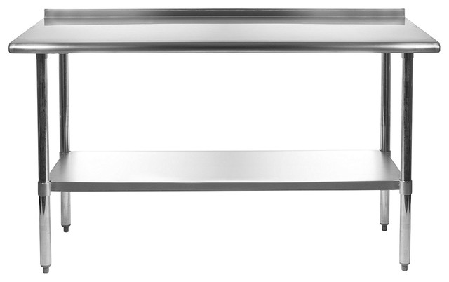 Stainless Steel 60x24 Nsf Certified Work Bench Prep Table With Backsplash.
